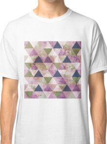 Fab Navy Blue, Green & Purple Triangle Geometric Design Classic T-Shirt