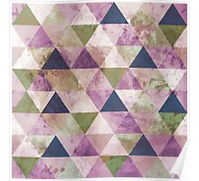 Fab Navy Blue, Green & Purple Triangle Geometric Design Poster