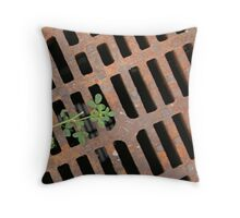 Storm Drain with a touch of green Throw Pillow