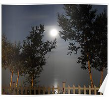 Foggy Moon over the river Poster