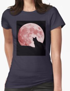 Cat looking at the moon Womens Fitted T-Shirt