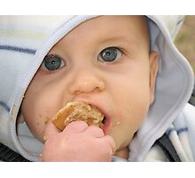 Baby Meets Cookie Photographic Print