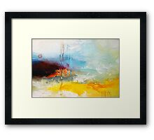 Yellow Blue Abstract Art Print Framed Print
