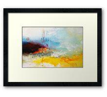 Yellow Blue Abstract Art Print Framed Print