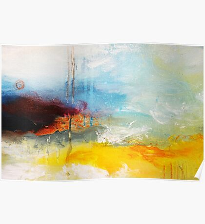 Yellow Blue Abstract Art Print Poster