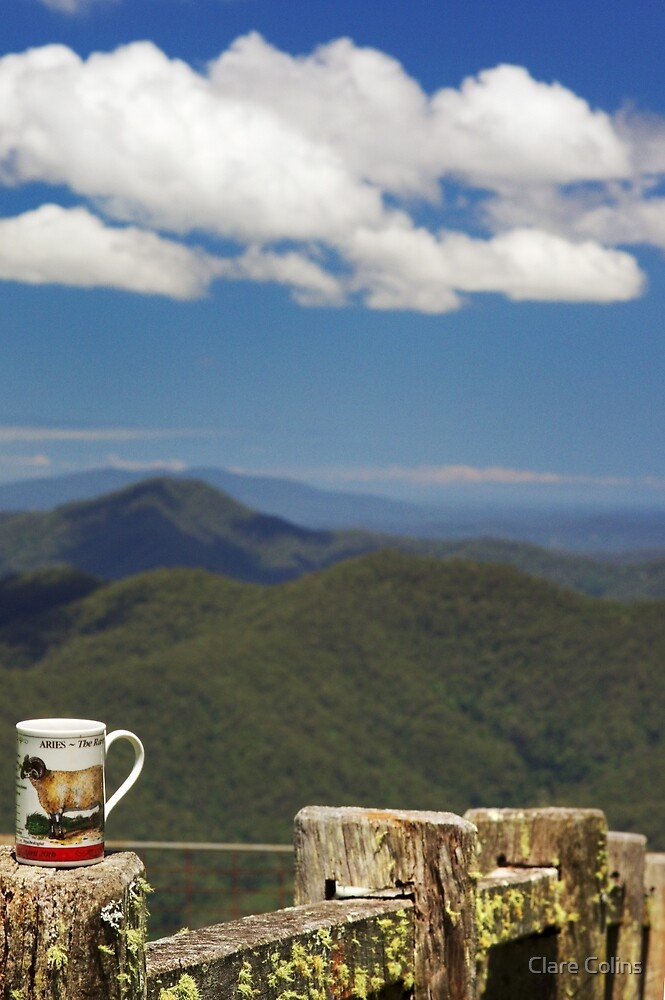 The Aries Woman drinks Tea on the Mountain Top by Clare Colins