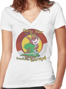 Curse Your Pokemon Betrayal  Women's Fitted V-Neck T-Shirt