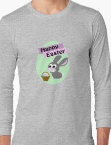 Happy Easter Gray Bunny Long Sleeve T-Shirt