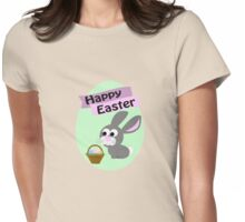Happy Easter Gray Bunny Womens Fitted T-Shirt