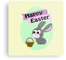 Happy Easter Gray Bunny Metal Print