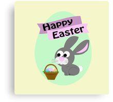 Happy Easter Gray Bunny Canvas Print
