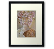 Rosewoman - Portrait In Crayon With Thorns For Teeth Framed Print