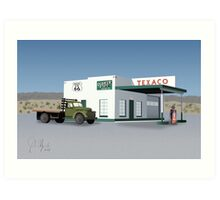 Route 66 Texaco Station Illustration Art Print