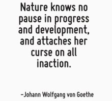 Nature knows no pause in progress and development, and attaches her curse on all inaction. by Quotr