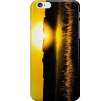 Yellow sunset behind barbed wire iPhone Case/Skin