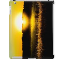 Yellow sunset behind barbed wire iPad Case/Skin
