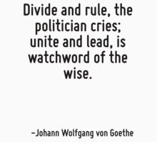 Divide and rule, the politician cries; unite and lead, is watchword of the wise. by Quotr