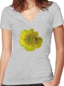 buttercup with insect Women's Fitted V-Neck T-Shirt