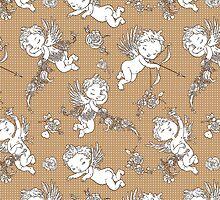 Valentine Angels on Polka Dots Background. by Kimazo