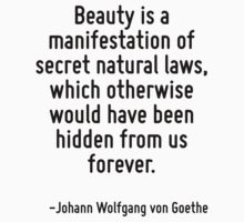 Beauty is a manifestation of secret natural laws, which otherwise would have been hidden from us forever. by Quotr
