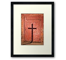 Sign on a Red Iron Door Framed Print