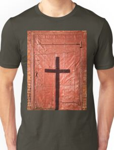 Sign on a Red Iron Door Unisex T-Shirt