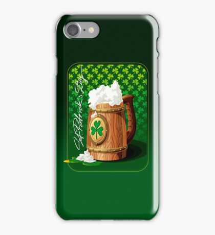 Wooden beer mug with foam and clover  iPhone Case/Skin