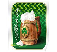 Wooden beer mug with foam and clover  Poster