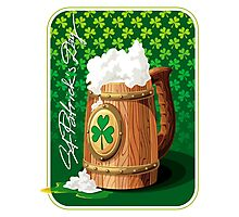 Wooden beer mug with foam and clover  Photographic Print