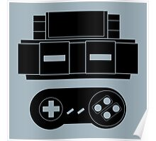 Let's Play SNES (Black) Poster