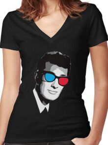 Buddy Holly 3D Glasses Women's Fitted V-Neck T-Shirt