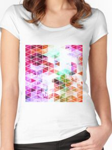 Pink Grungy Triangle Design Women's Fitted Scoop T-Shirt