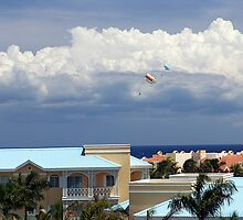 Parasailing over Playacar, Mexico by stevelink