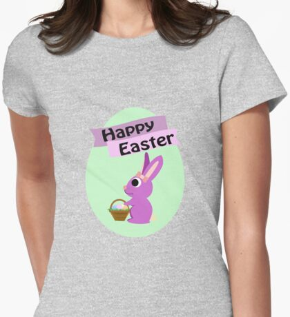 Happy Easter Girl Bunny Womens Fitted T-Shirt
