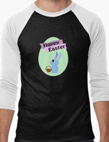 Happy Easter Blue Bunny Men's Baseball ¾ T-Shirt