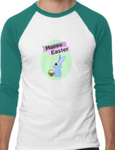Happy Easter Blue Bunny Men's Baseball ¾ T-Shirt