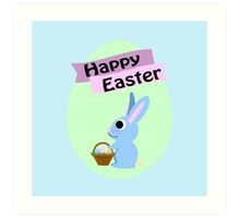 Happy Easter Blue Bunny Art Print
