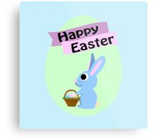 Happy Easter Blue Bunny Metal Print