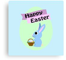 Happy Easter Blue Bunny Canvas Print