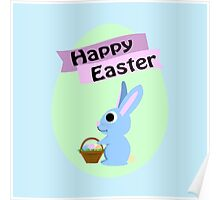 Happy Easter Blue Bunny Poster