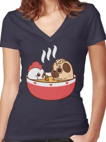 Chicken Noodle Puglie Women's Fitted V-Neck T-Shirt