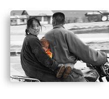 Mongolian Family on Motorbike Canvas Print