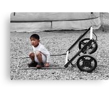 Mongolian Boy with Cart Canvas Print