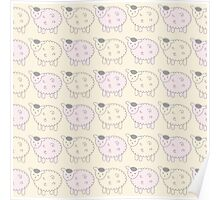 Pink and Cream Lamb Decor - Cute Doodle Sheep Poster