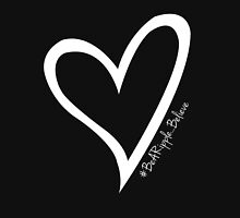 #BeARipple...BELIEVE White Heart on Black Womens Fitted T-Shirt