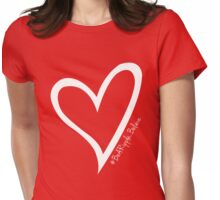 #BeARipple...BELIEVE White Heart on Red Womens Fitted T-Shirt