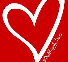 #BeARipple...FOCUS White Heart on Red by BeARipple