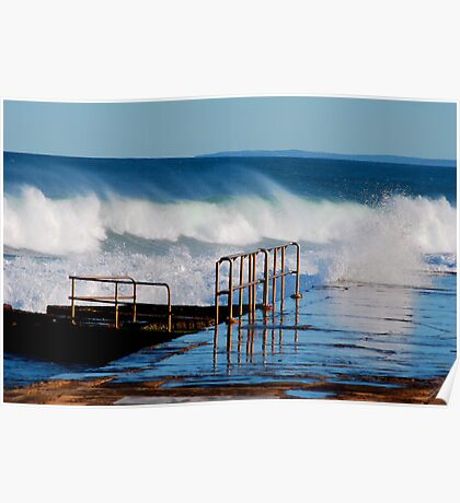 Waves Breaking Over Newcastle Baths Poster
