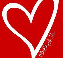 #BeARipple...FLOW White Heart on Red by BeARipple