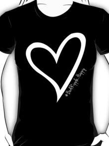 #BeARipple...HAPPY White Heart on Black T-Shirt